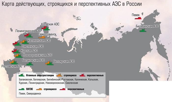 Карта электростанций России (РФ)